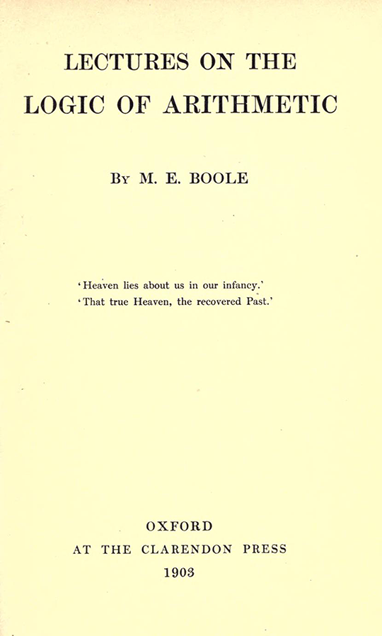 Title page of Lectures on the Logic of Arithmetic by Mary Boole, 1903