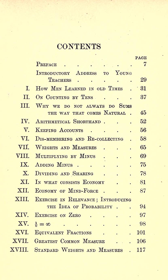 First page of table of contents from Lectures on the Logic of Arithmetic by Mary Boole, 1903