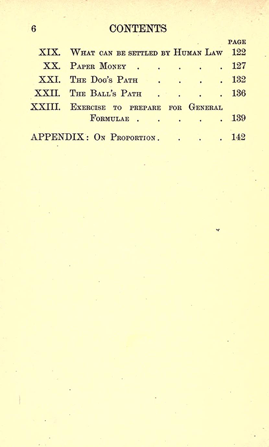 Second page of table of contents from Lectures on the Logic of Arithmetic by Mary Boole, 1903