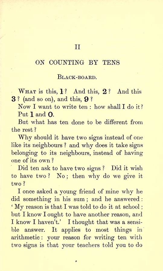 First page of  Chapter II from Lectures on the Logic of Arithmetic by Mary Boole, 1903