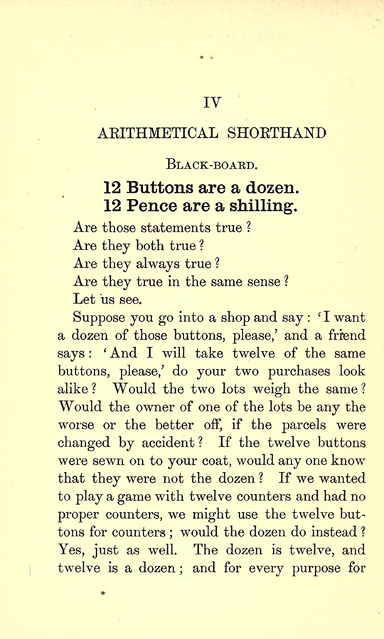 First page of Chapter IV from Lectures on the Logic of Arithmetic by Mary Boole, 1903