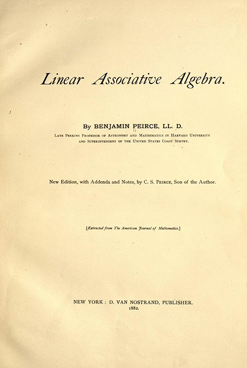 Title page of Linear Associative Algebra (1882) by Benjamin Peirce