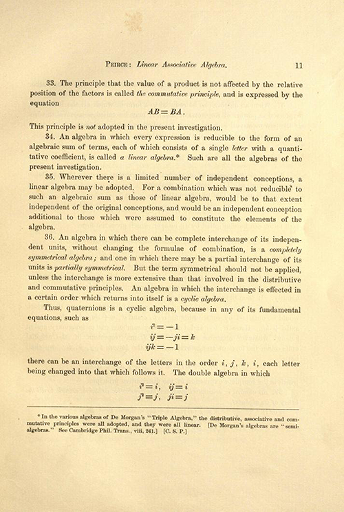 Page 11 of Linear Associative Algebra (1882) by Benjamin Peirce