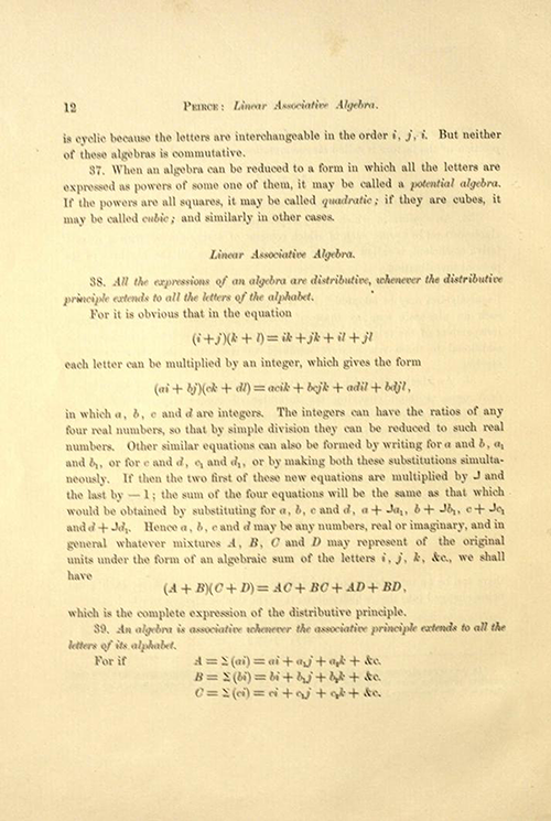 Page 12 of Linear Associative Algebra (1882) by Benjamin Peirce