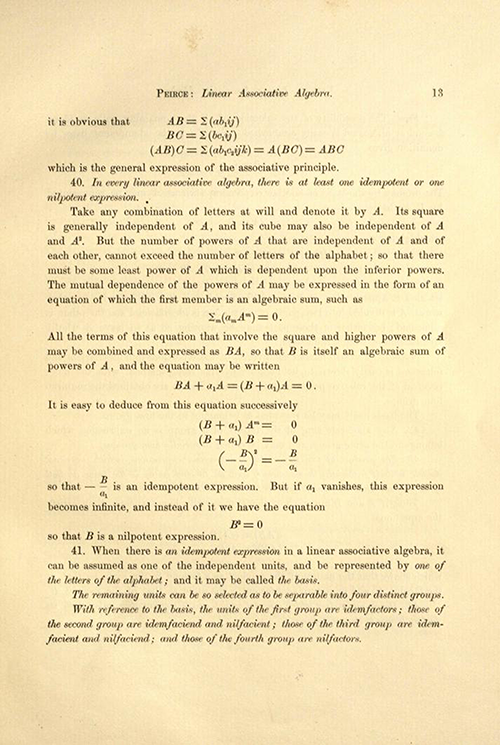 Page 13 of Linear Associative Algebra (1882) by Benjamin Peirce