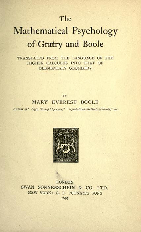 Title page of The Mathematical Psychology of Gratry and Boole by Mary Boole, 1897
