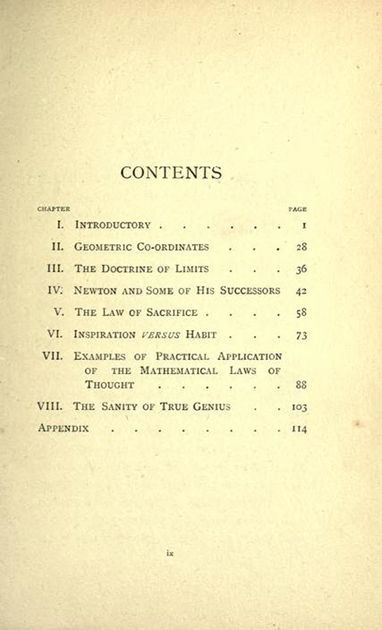 Table of contents from The Mathematical Psychology of Gratry and Boole by Mary Boole, 1897