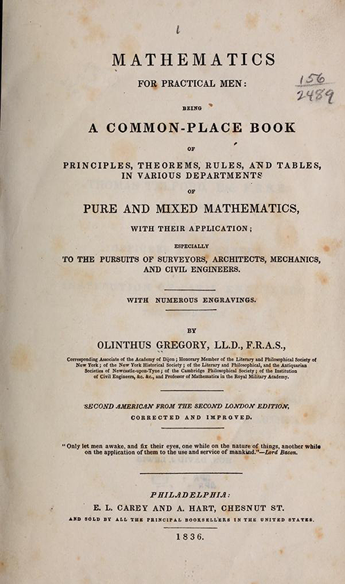 Title page from 2nd American edition of Olinthus Gregory's Mathematics for Practical Men.