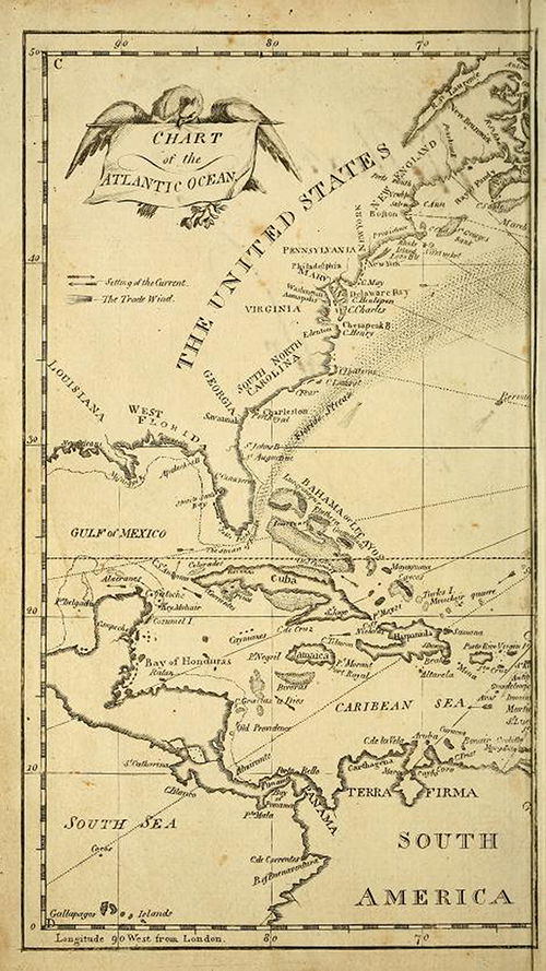 Map of the United States and Caribbean from The New American Practical Navigator by Nathaniel Bowditch
