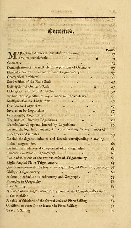 First page of the Table of Contents for The New American Practical Navigator by Nathaniel Bowditch