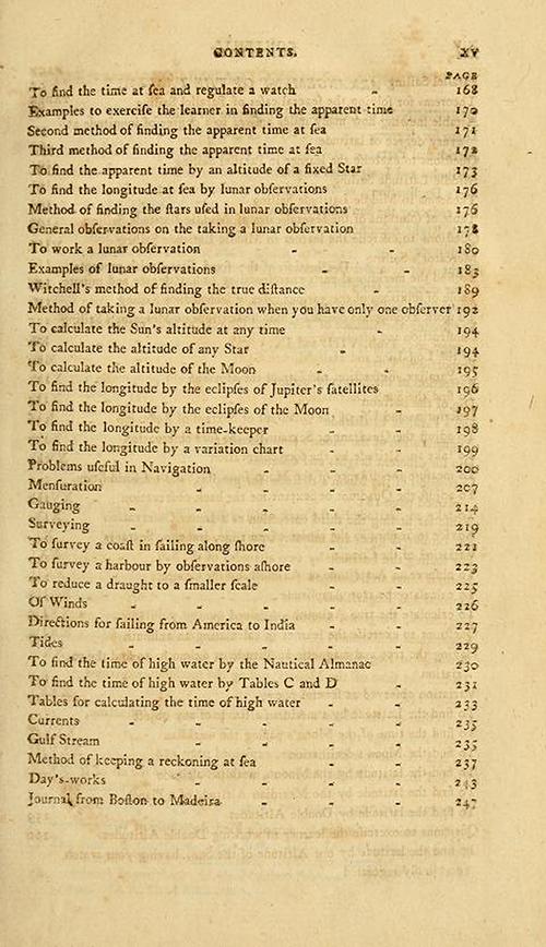 Third page of the Table of Contents for The New American Practical Navigator by Nathaniel Bowditch