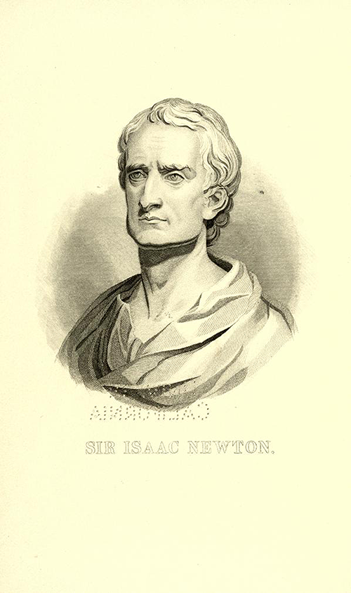 Portrait of Newton in 1840s American edition of Newton's Principia Mathematica in English.