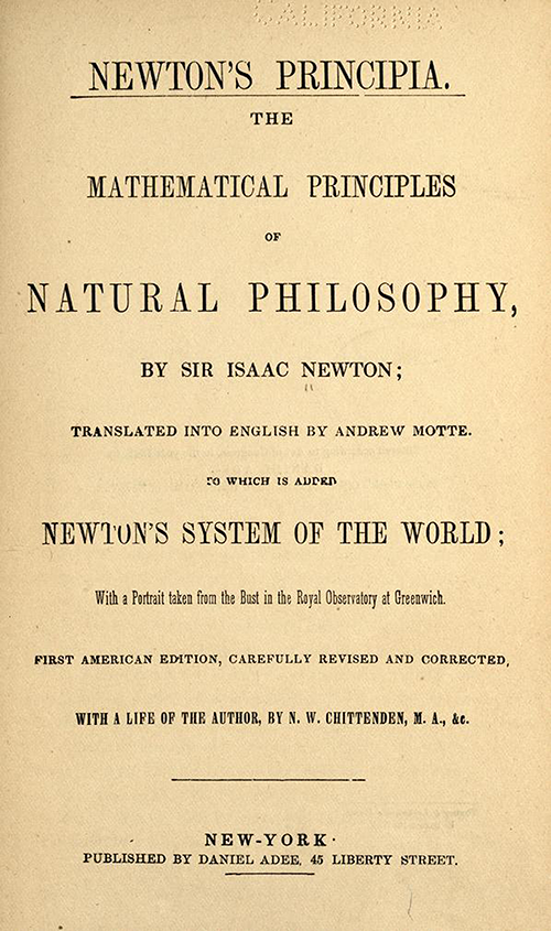 Title page of 1840s American edition of Newton's Principia Mathematica in English.