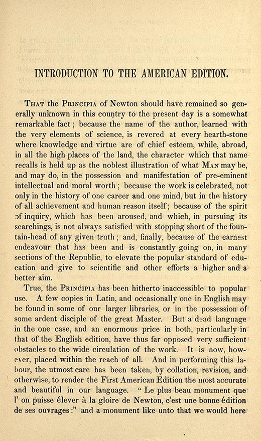 Introduction to 1840s American printing of English translation of Newton's Principia.