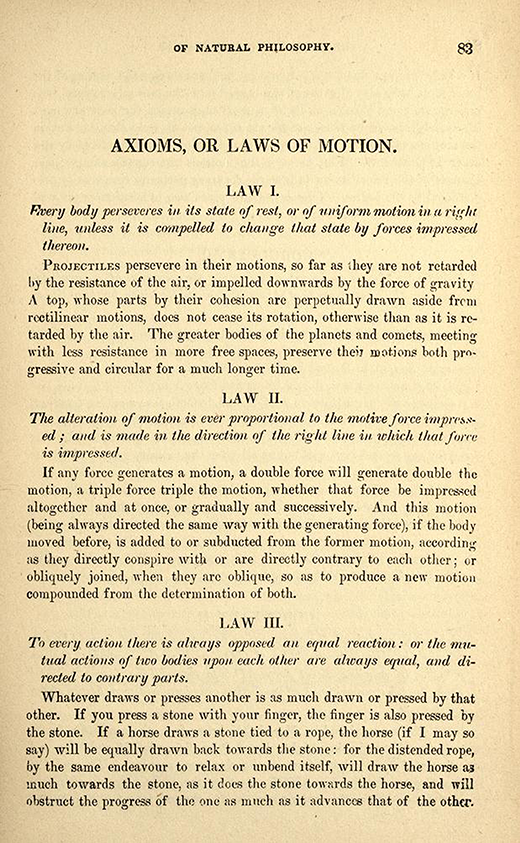 Page 83 from 1840s American printing of English translation of Newton's Principia.