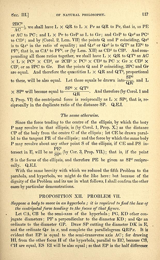 Page 117 from 1840s American printing of English translation of Newton's Principia.
