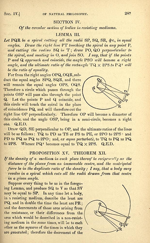 Page 287 from 1846 American printing of English translation of Newton's Principia.