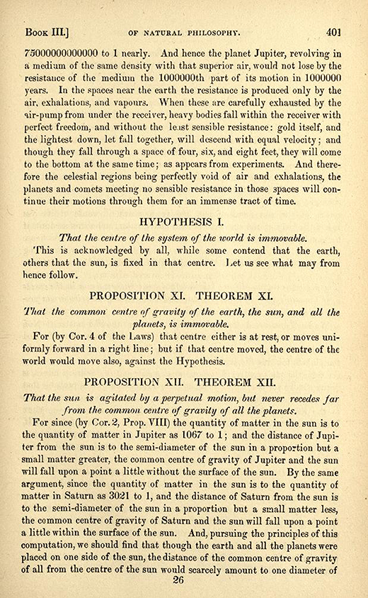 Page 401 from 1846 American printing of English translation of Newton's Principia.