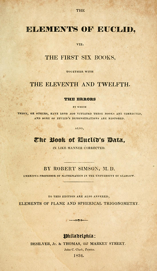 Title page of Elements of Euclid by Robert Simson (1834)