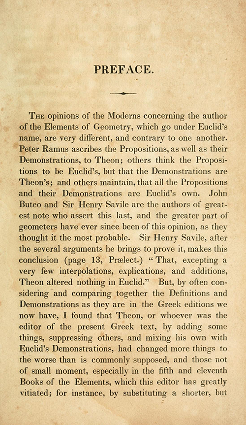 Page 1 of preface of Elements of Euclid by Robert Simson (1834)