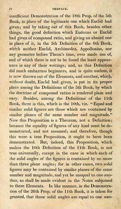 Page 2 of preface of Elements of Euclid by Robert Simson (1834)