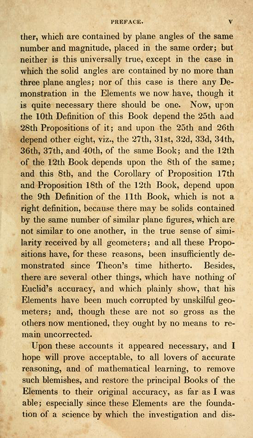 Page 3 of preface of Elements of Euclid by Robert Simson (1834)