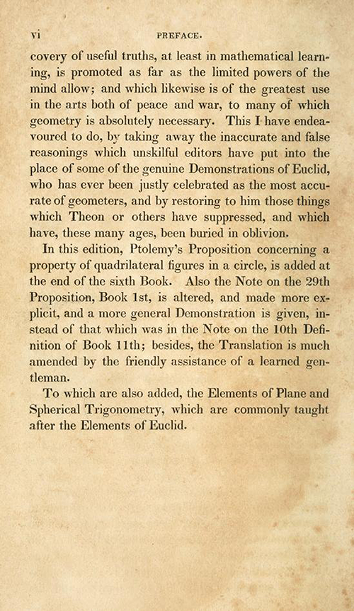 Page 4 of preface of Elements of Euclid by Robert Simson (1834)