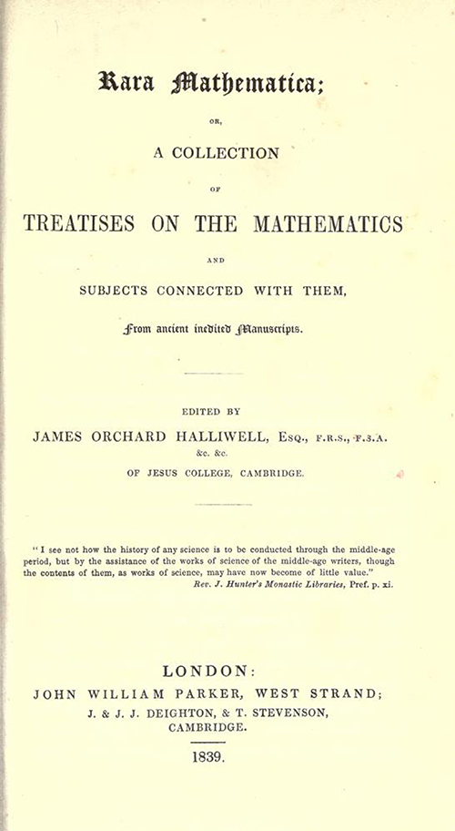 Title page of Rara Mathematica by James Halliwell, 1839