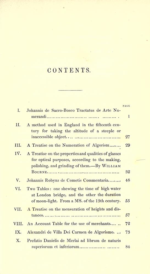 First page of table of contents for Rara Mathematica by James Halliwell, 1839