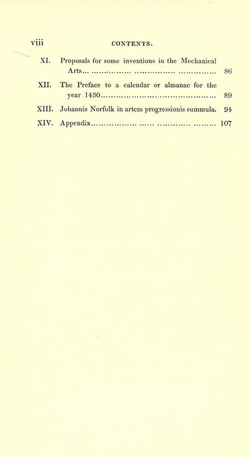 Second page of table of contents for Rara Mathematica by James Halliwell, 1839