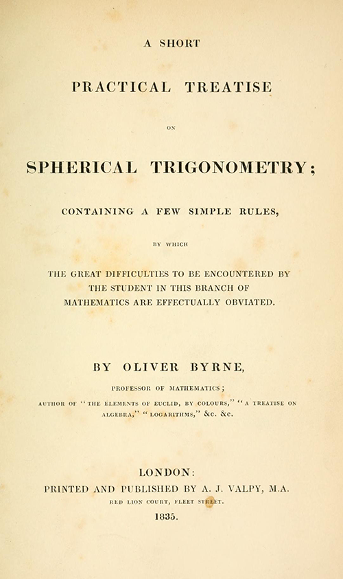 Title page from Oliver Byrne's 1835 textbook on spherical trigonometry.