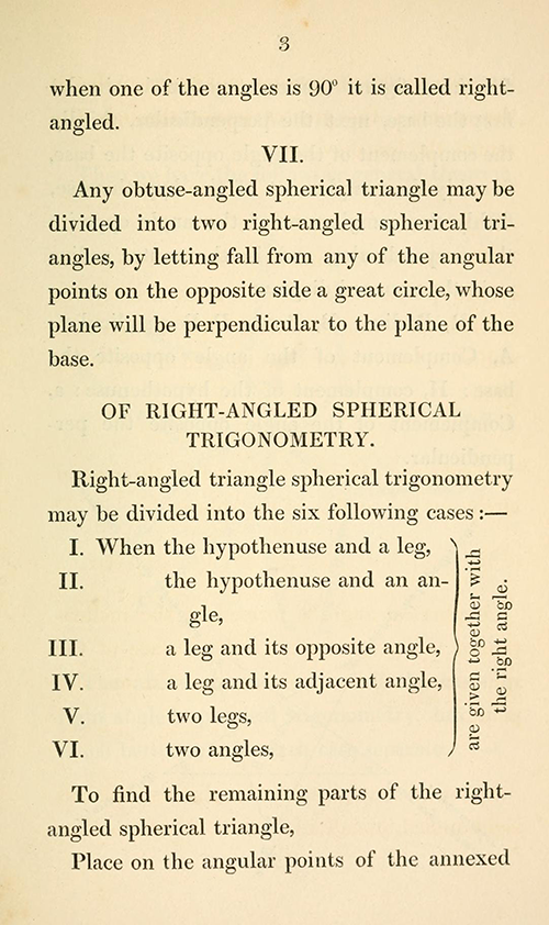 Page 3 from Byrne's textbook on spherical trigonometry.