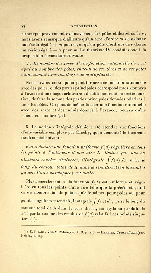 Page six of the Introduction to Théorie des fonctions algébriques by Appell and Goursat, 1895