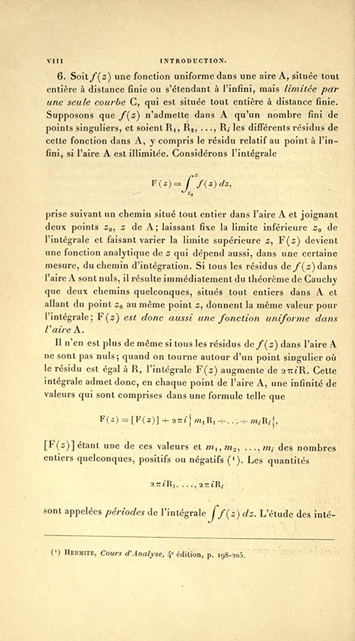 Page eight of the Introduction to Théorie des fonctions algébriques by Appell and Goursat, 1895