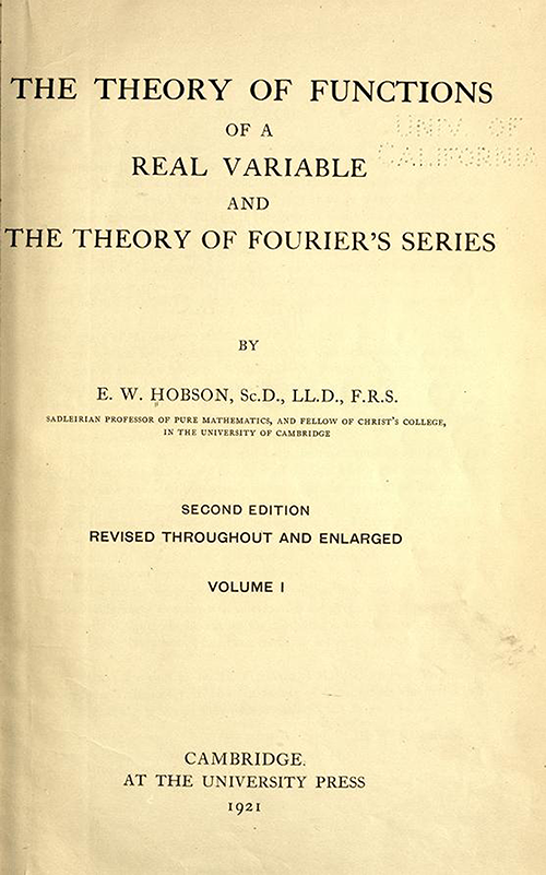 Title page of Theory of Functions of a Real Variable by Ernest Hobson from 1921