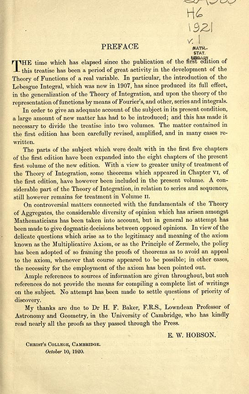 Preface to second edition of Theory of Functions of a Real Variable by Ernest Hobson from 1921