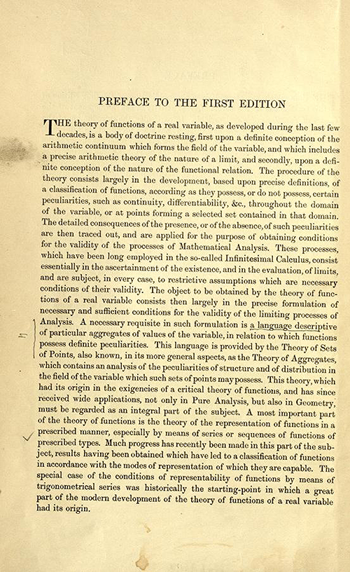 First page of the preface to the first edition of Theory of Functions of a Real Variable by Ernest Hobson from 1921