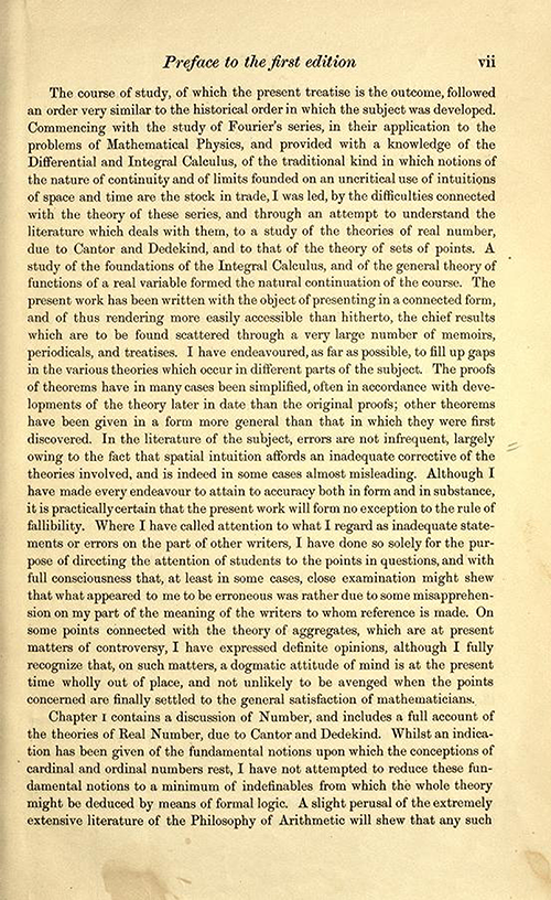Second page of the preface to the first edition of Theory of Functions of a Real Variable by Ernest Hobson from 1921