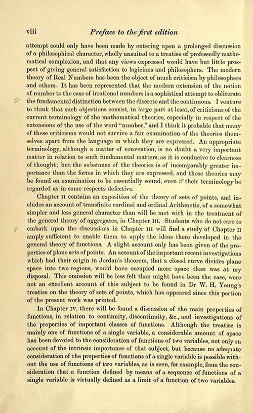 Third page of the preface to the first edition of Theory of Functions of a Real Variable by Ernest Hobson from 1921