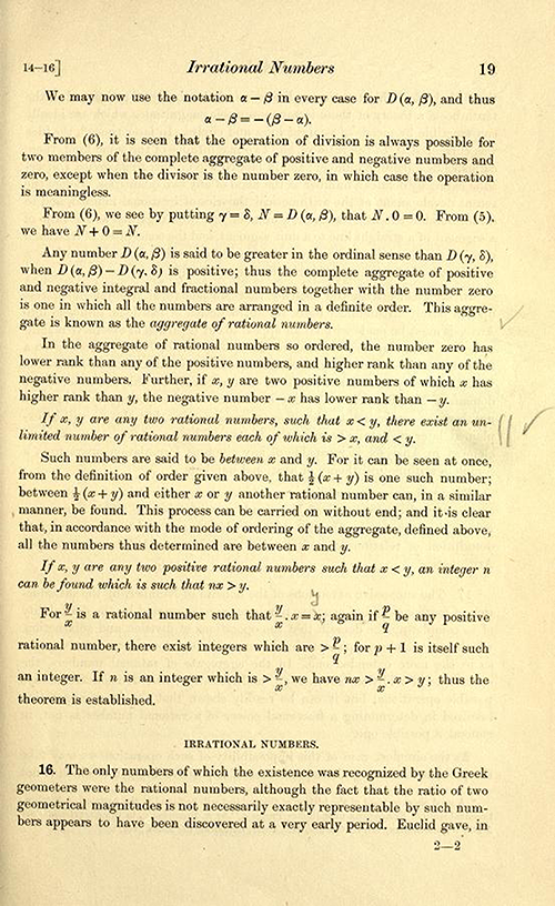 Discussion of irrational numbers on page 19 of Theory of Functions of a Real Variable by Ernest Hobson from 1921