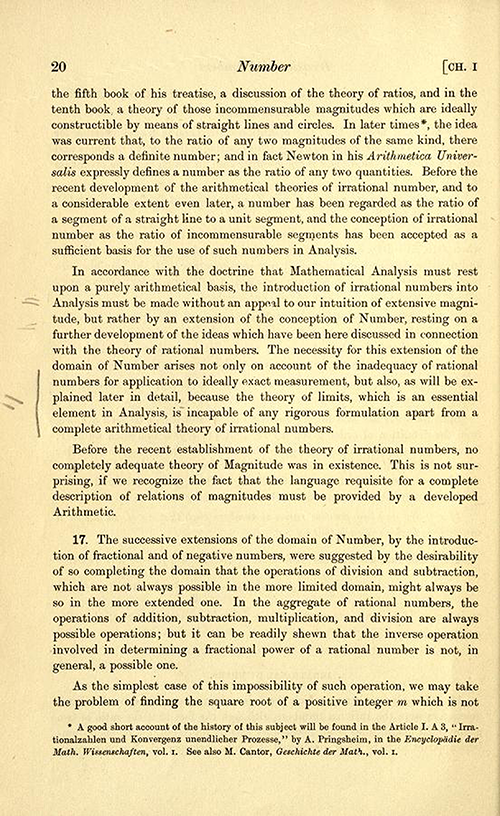 Discussion of irrational numbers on page 20 of Theory of Functions of a Real Variable by Ernest Hobson from 1921