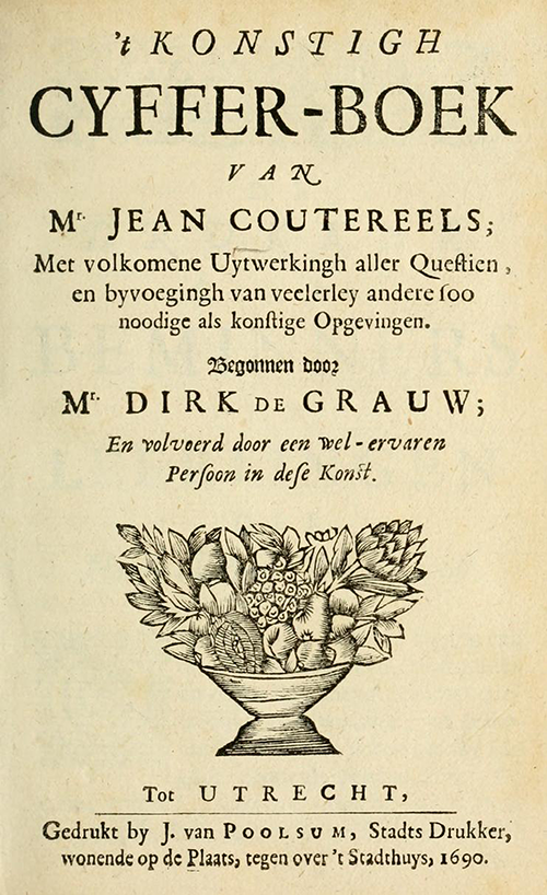 Title page for Jean Coutereels's 1690 Cyffer-Boek.
