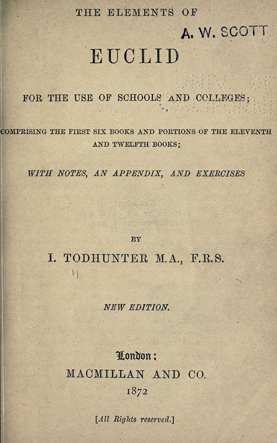 Title page of The Elements of Euclid by Isaac Todhunter, 1872
