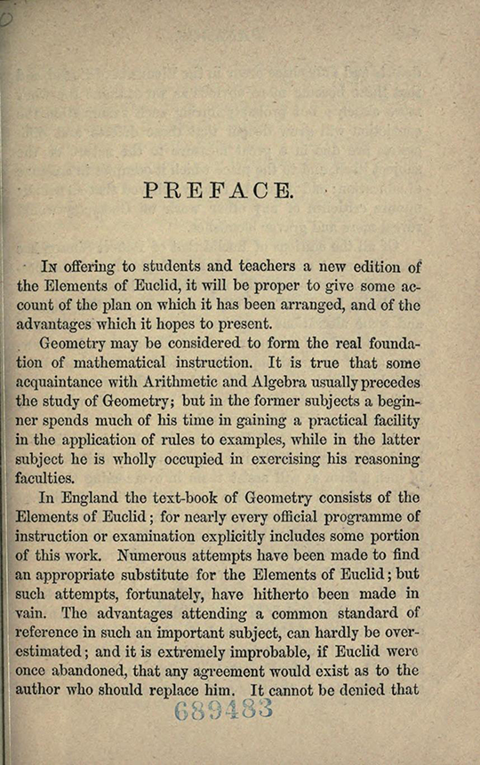 First page of preface to The Elements of Euclid by Isaac Todhunter, 1872