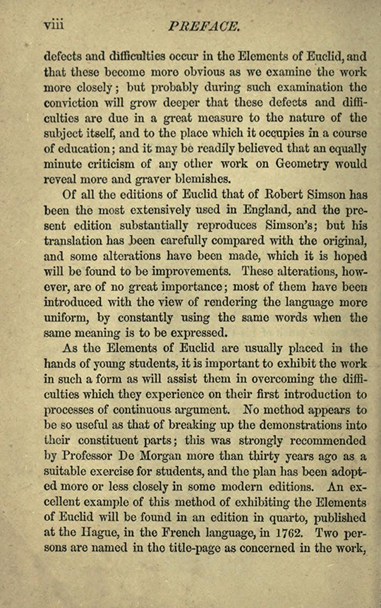 Second page of preface to The Elements of Euclid by Isaac Todhunter, 1872