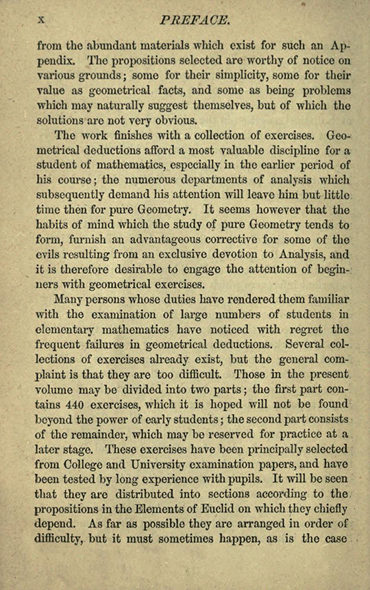 Fourth page of preface to The Elements of Euclid by Isaac Todhunter, 1872