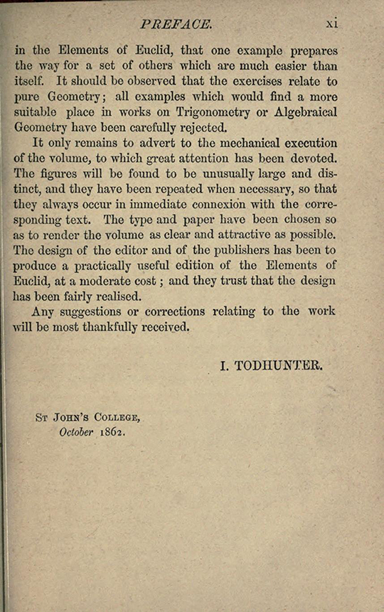 Fifth page of preface to The Elements of Euclid by Isaac Todhunter, 1872