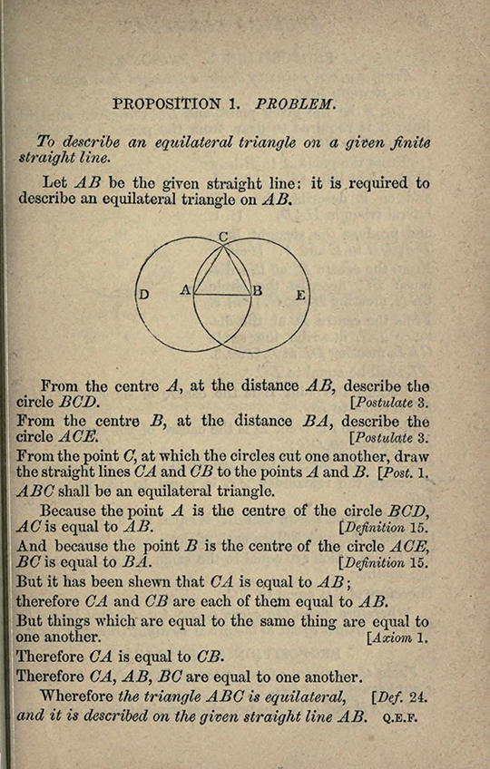 Proposition 1 from The Elements of Euclid by Isaac Todhunter, 1872
