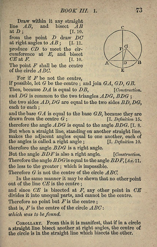 Third page from Chapter III of The Elements of Euclid by Isaac Todhunter, 1872