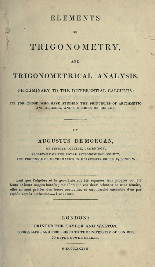 Title page for Elements of Trigonometry and Trigonometrical Analysis by Augustus De Morgan